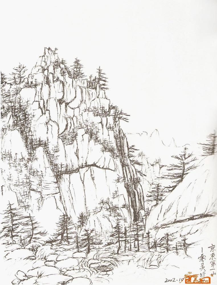 高山铁塔素描图片